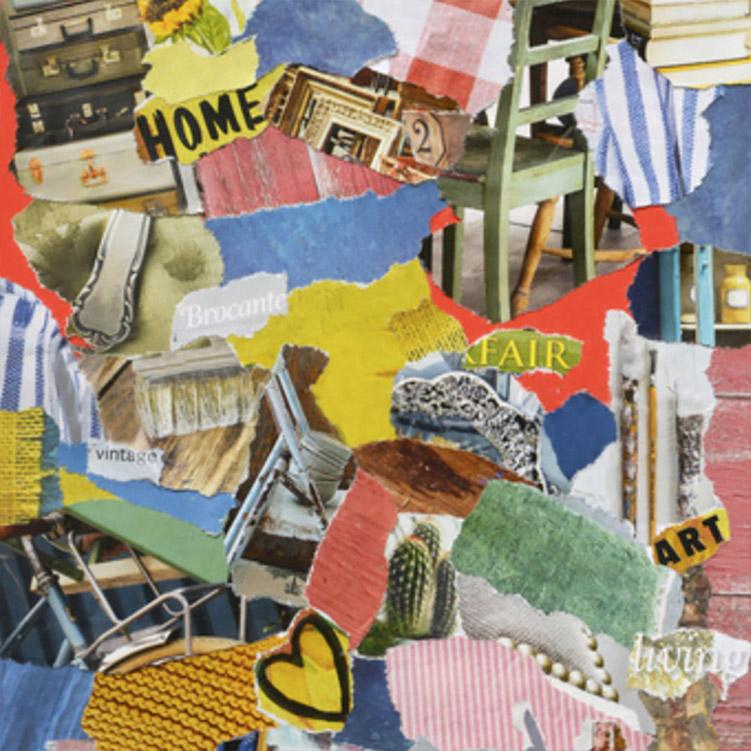 collage di arte con colori e scritte